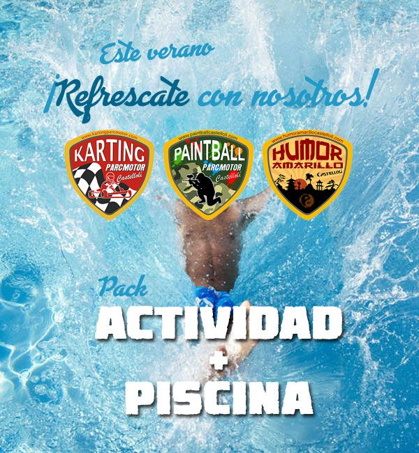 Pack Karting Paintball Humor Amarillo + Piscina